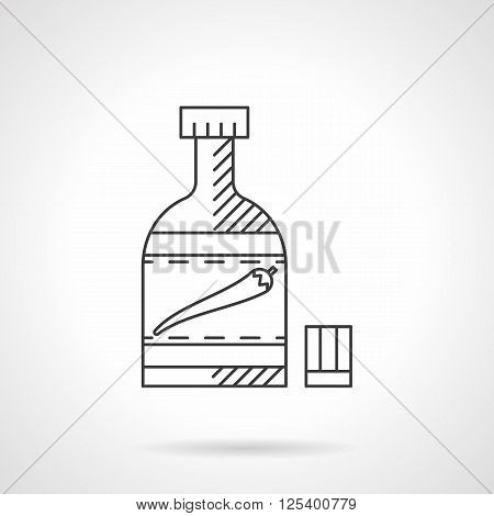 Chili pepper hot sauce bottle. Hot ketchup. Spicy Mexican food menu. Flat line style vector icon. Single design element for website, business.