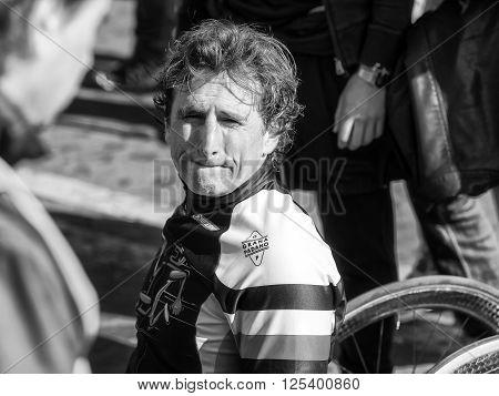 Rome Italy - April 10 2016: Alex Zanardi is the winner of the hand bike race of 22 ^ Rome Marathon.