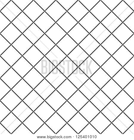 Crossing Intersect Sea Ropes Diagonal Net Seamless Pattern. Black And White Colors.