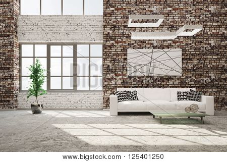 Living Room With Sofa 3D Rendering