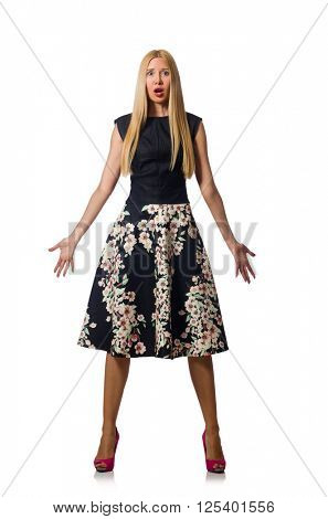 Woman in black floral dress isolated on white