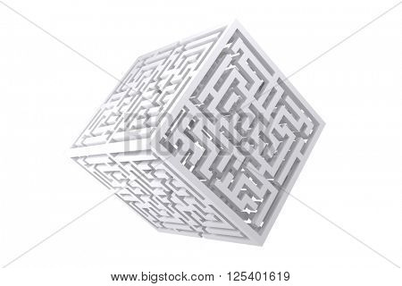 Maze cube against white background with vignette