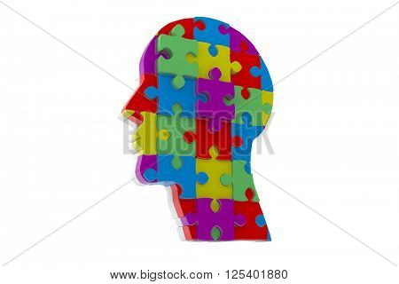 Head made of jigsaw pieces against white background with vignette