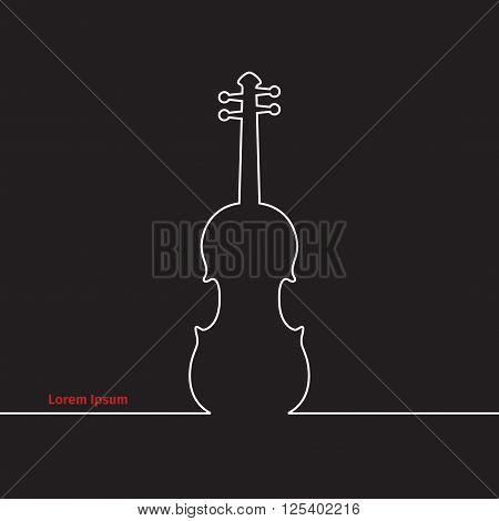 Advertising card with violin, black background, vector illustration