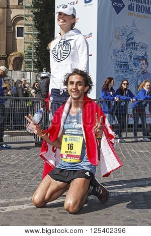 Rome Italy - April 10 2016: Martin Dematteis is the first of the Italians reached the finish line of the 22 Rome Marathon. Dematteis coming eleventh in the men's race.