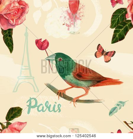 'Vintage Paris' seamless background pattern with stylized drawings of bird rose butterfly glass of pink champagne feather the Eiffel tower and handwritten word 'Paris' in calligraphy toned