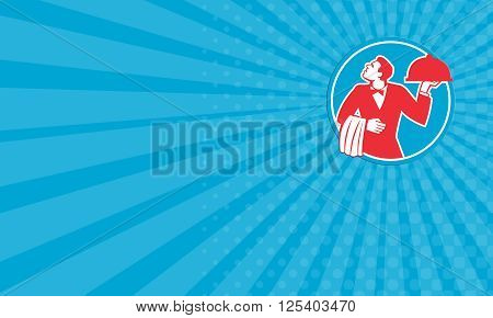 Business card showing illustration of a butler waiter serving food in a platter looking to the side viewed from front set inside circle on isolated background done in retro style.