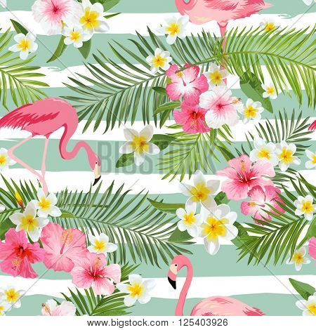 Flamingo Background. Tropical Flowers Background. Seamless Pattern. Vector.