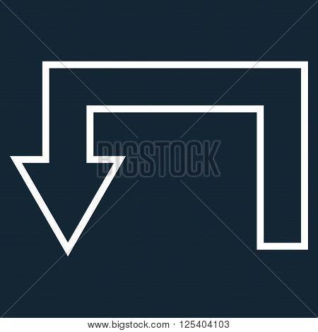 Return Arrow vector icon. Style is stroke icon symbol, white color, dark blue background.