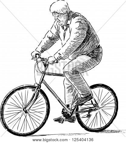 Vector drawing of anelderly man reads a bicycle.