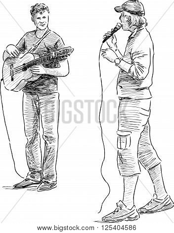 Vector sketch of the casual street buskers.