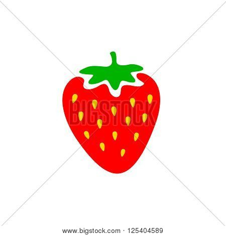 Strawberry Colorful Logo. Strawberry Cartoon Style Symbol. Isolated On A White Background.