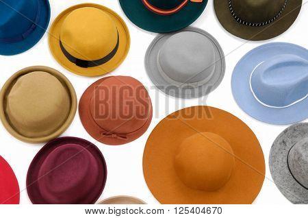 Set of many woman hat