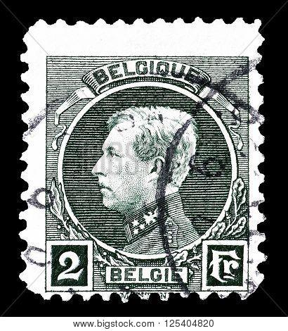 BELGIUM - CIRCA 1925 : Cancelled postage stamp printed by Belgium, that shows king Albert.
