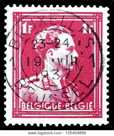 BELGIUM - CIRCA 1936 : Cancelled postage stamp printed by Belgium, that shows king Leopold.
