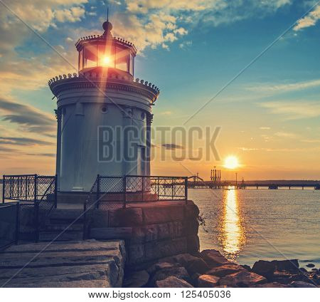 Bug Light Lighthouse in Portland Maine at sunrise with Instagram style filter