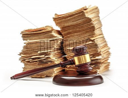 Pile Of Old Cards With Gavel