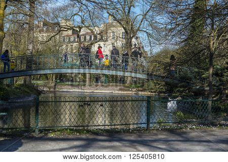 Bordeaux France - March 27 2016. People walking in Parc Bordelais the bigger public garden of Bordeaux. Aquitaine. France.