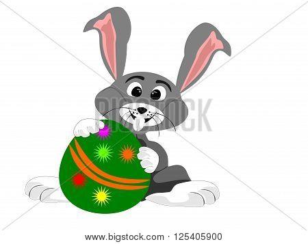 Bunny rabbit holding large Easter egg, vector, png format,