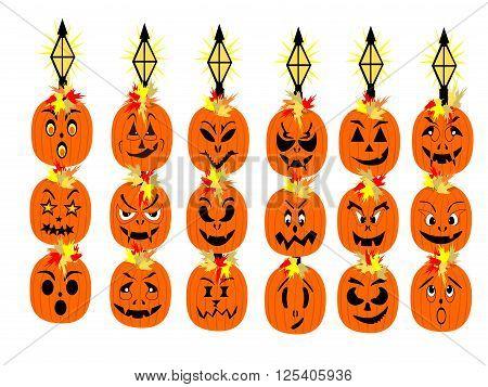 Halloween solar light pumpkin faces, vector, png format