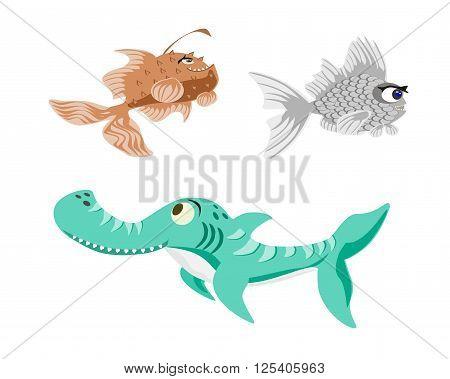 prehistoric shark fish, vector, cute, png format