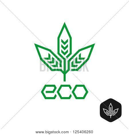 Three Leaves Natural Eco Logo. Technical Science Industry Sign. Corner Outline Style.