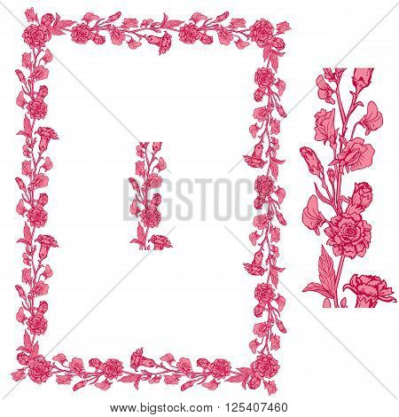 Set of ornaments in pink and red colors - decorative handdrawn floral border and frame with clove and sweet pea flowers isolated on white background.
