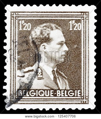 BELGIUM - CIRCA 1951 : Cancelled postage stamp printed by Belgium, that shows king Leopold.