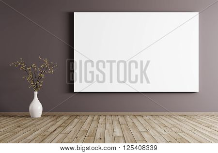Interior With Big Poster Background 3D Rendering