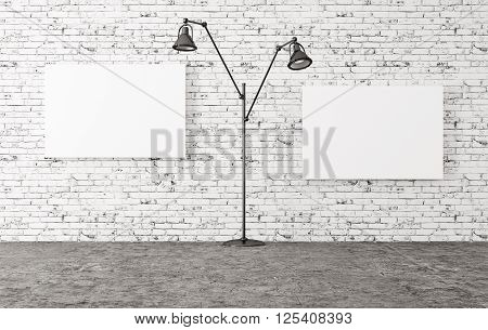 Floor Lamp And Two Posters 3D Render