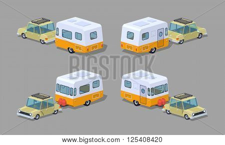 Beige sedan with orange-white motor home. 3D lowpoly isometric vector illustration. The set of objects isolated against the grey background and shown from different sides