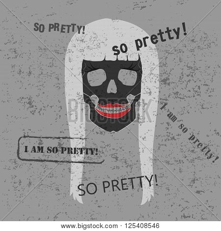 The stylized skull witha a red lips