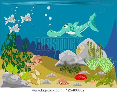 Prehistoric ocean scene shark fish, vector, png format,