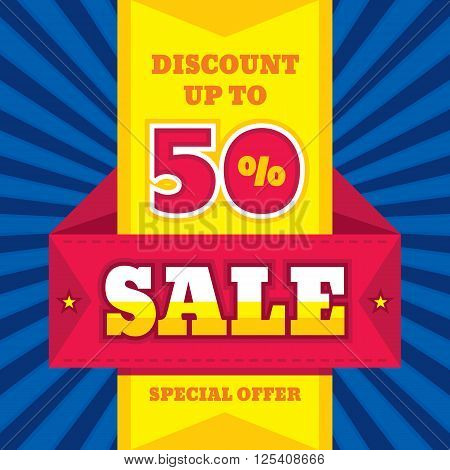Sale abstract vector banner - discount up to 50%. Special offer. Sale vector banner. Sale abstract background. Super big sale design layout. Origami sale banner. Sale banner template. Sale layout.