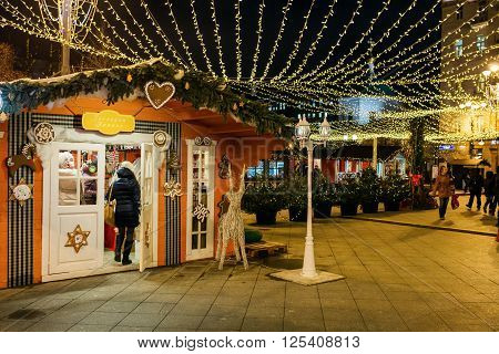 MOSCOW, RUSSIA - JANUARY 25, 2016: Tverskaya street, Decoration and illumination for New Year and Christmas holidays at night