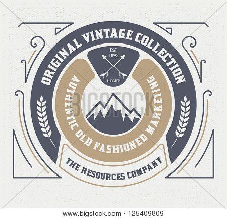 Vintage Logo Template, Hotel, Restaurant, Business or Boutique Identity. Design with Flourishes Elegant Design Elements. Royalty .Vector Illustration