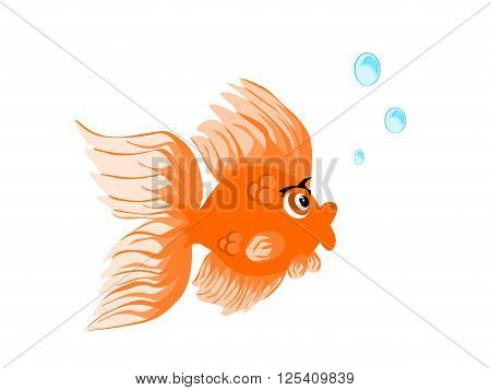 Gold fish vector alone blowing bubbles on isolated white background