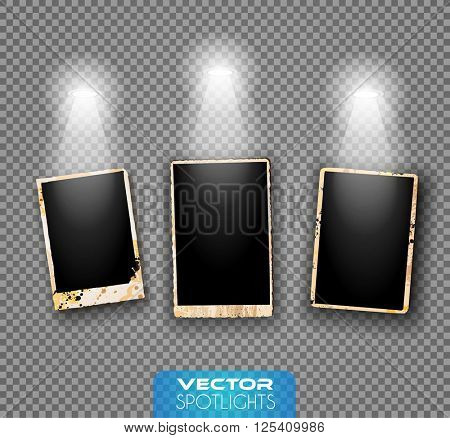 Vector Spotlights scene with different source of lights pointing to the floor or shelf. Ideal for featuring products. Lights are transparent so ready to be placed on every surface.
