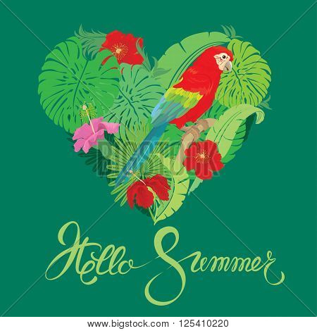 Seasonal card with Heart shape palm trees leaves and Red Blue Macaw parrot. Handwritten calligraphic text Hello Summer. Element for travel and vacation design.