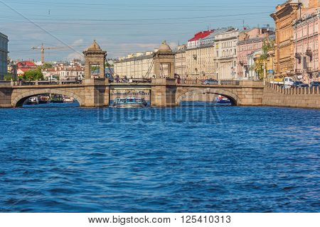 SAINT PETERSBURG, RUSSIA - MAY 28, 2015: view on Lomonosov Bridge over Fontanka river