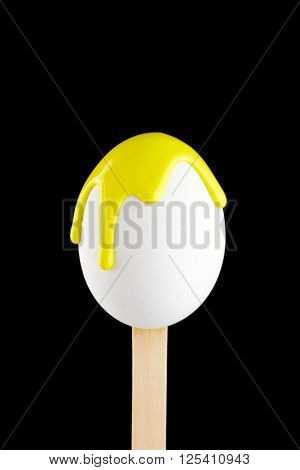Egg On A Wooden Stick Drenched Colors