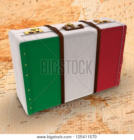 Italy flag suitcase against world map with compass showing oceania and the far east