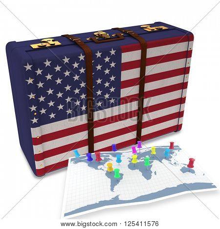 Pushpins on world map against usa flag suitcase