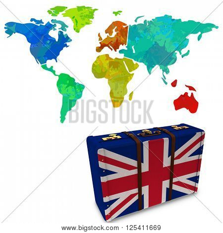 Colourful world map against great britain flag suitcase