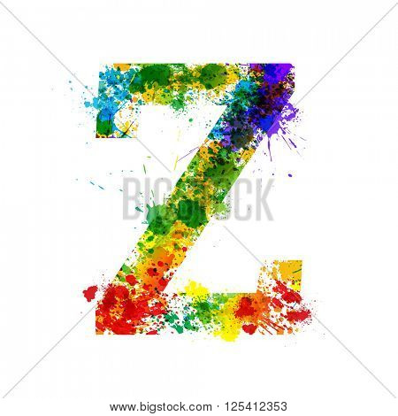 Color Paint Splashes. Gradient Vector Font. Watercolor Designer Decoration Alphabet. Colar ink Symbols Isolated ob a White Background. Letter Z
