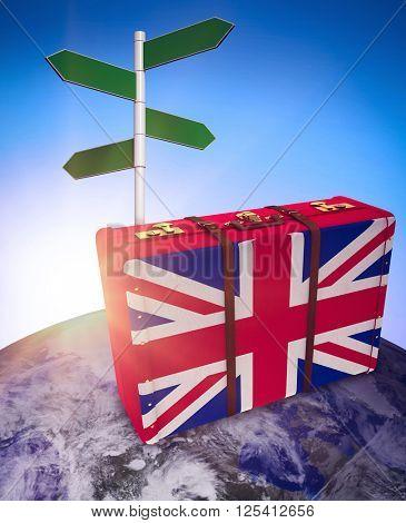 Great Britain flag suitcase against blue sky