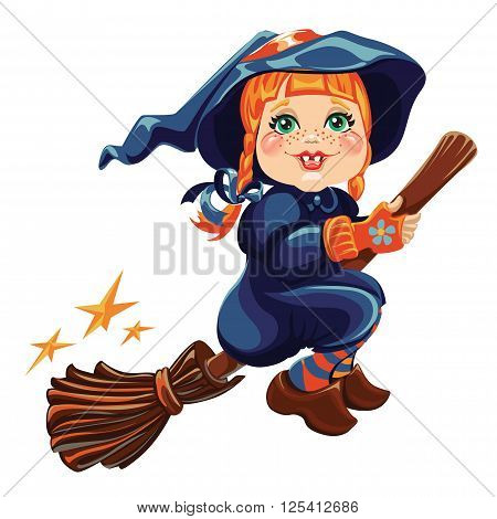 Vector fantasy illustration of a cute little girl in costume witch flying on a broomstick