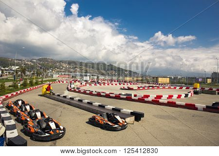 SOCHI, RUSSIA - MARCH 30, 2016: View of a go-kart track near Sochi Olympic park