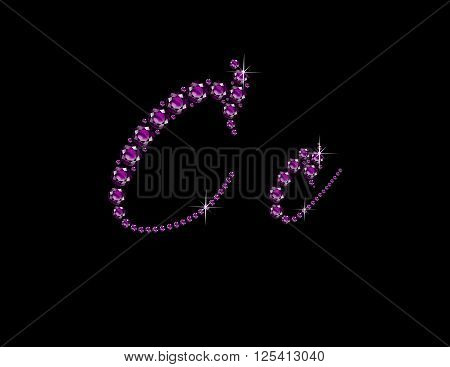 Cc in stunning Amethyst Script precious round jewels isolated on black.