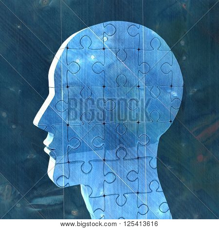 Head made of jigsaw pieces against bleached wooden planks background